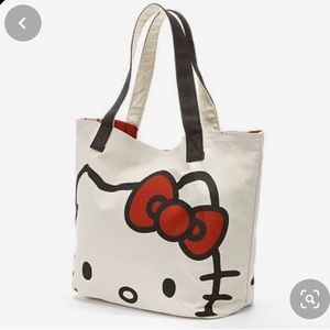 Hello Kitty Tan Canvas Large Tote Loungefly